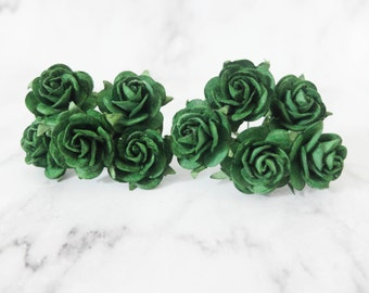 10 25mm forest green paper roses - green paper flowers - green mulberry paper flowers