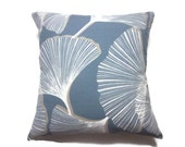 Decorative Pillow Cover Gingko Slate Blue White Khaki Same Fabric Front/Back Toss Throw Accent 18x18 inch x