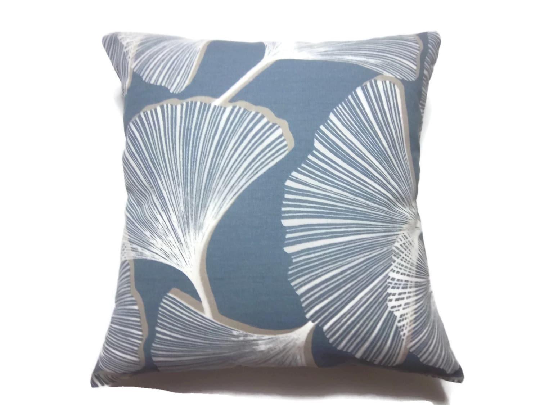 Decorative Pillow Cover Gingko Slate Blue White Khaki Same