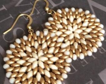 Cream and Satin Gold Seed Bead Earrings - Big Bold Disc Earrings - Beadwork Jewelry - Statement Jewelry