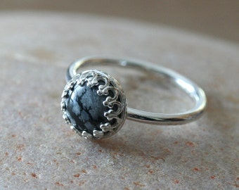 Snowflake Obsidian Ring • Gallery Bezel 8 mm • Crown Princess Setting • Sterling Silver Gemstone • Size 2 to 15 • Black • White • Stacking