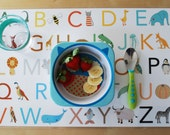 Animal Alphabet and Numbers Placemat, Double Sided Placemat, ABC and Counting Placemat