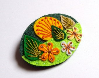 Miniscape felt brooch with freeform embroidery