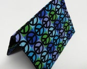 Passport Cover Travel Case Holiday Cruise - Blue Green Lavender Black Peace Signs