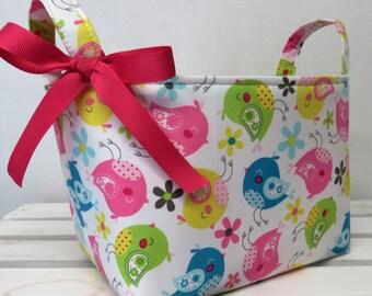Storage and Organization  - Sweet Birdies Birds - Fabric Organizer Bin Storage Container Basket