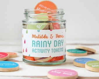Rainy Day Personalised Children's Activity Tokens Jar - Sibling Gift - Rainy Day Gift - Creative Activity For Children - Gift For Siblings