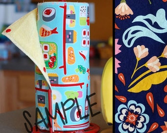 SALE - Tree Saver Towels - Funky Floral - Reusable, Eco-Friendly, Snapping Paper Towel Set - Cotton and Terry Cloth