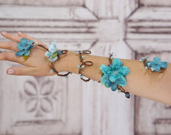 Flower Wrap Cuff, Flower Arm Band, Aqua Blue Fairy Flower Cuff, Boho Bracelet, Woodland Armband, Fairy Armband, Vine Flower Arm Cuff Active