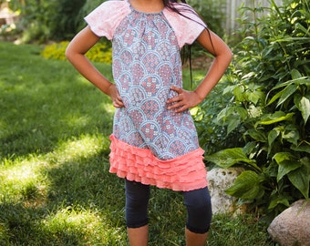 flowers of salmon, blue, cream - Peasant tunic/dress with cap sleeve and ruffle hem   - 2T - 7Y
