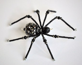 Ollie - black and silver glass beaded spider goth sun catcher - Halloween decoration - Christmas ornament