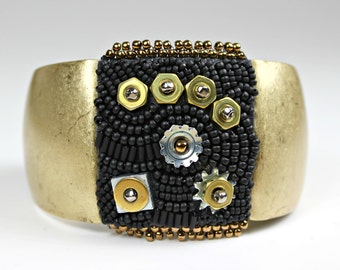 Antique Gold Beaded Cuff - Antique Look Embroidered Bracelet with Nuts and Bolts