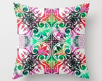 Throw Pillow Mandala Art COVER Design Home Pattern Sofa Bed Chair Green Pink Black Red Decor Artsy Decorating Living Room Bedroom Bedding