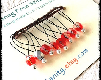 Snag Free Stitch Markers Large Set of 8-- White and Red Czech Glass -- N37 -- For up to size US 17 (12.75mm) Knitting Needle