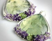 Gorgeous Prehnite and Amethyst Statement Earrings