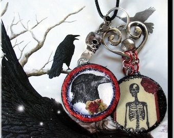 Handmade Gothic Necklace Raven Skeleton Round Pendants Mixed Media Decoupage Collage Wearable Art Black Red Vintage Elements Medallions