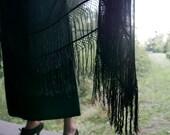 Victorian Black Silk Mourning Shawl