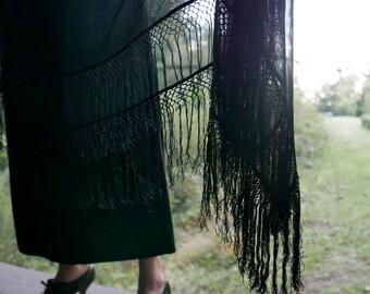 Victorian Black Silk Piano Shawl
