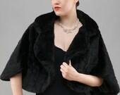Black Faux Fur Bridal Bolero, Black Fur Wedding Bolero, Bridal Jacket