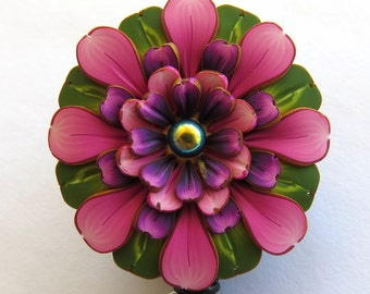 Pink and Purple Flower ID Badge Reel, Scissor Keeper, ID Lanyard, Scissor Fob