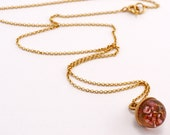 Extra Small 24K Gold and flower Pendant, Mini sterling Silver Necklace or Bracelet, Small Round pendant with Chain