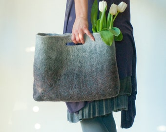 SMALLER Grey Sturdy Everyday Art Bag / Carryall / Tote / Basket / Shopping / Market / Picnic / Hand felted wool / Wearable Art
