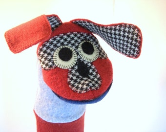 Handpuppet dog  named Gilbert made of seven recycled 100% wool sweaters