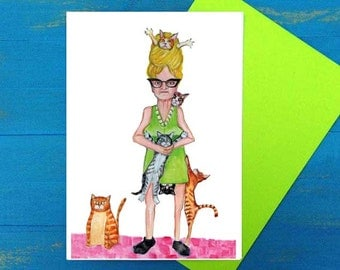 That crazy cat lady birthday greeting card