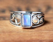 Silver vine ring, rainbow moonstone, June birthstone ring, emerald cut gemstone ring - thorn ring - eco friendly ring,custom