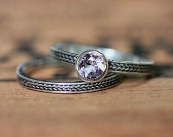 Morganite bridal set, pink morganite engagement ring set, braided wedding band, braided wedding ring, morganite ring set, silver ring custom