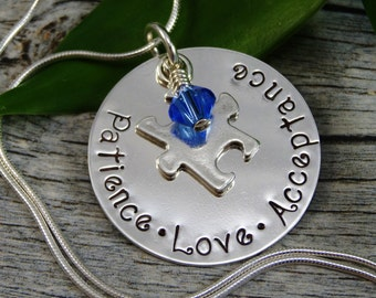 Ready to Ship - Hand Stamped Jewelry - Autism - Autism Awareness - Puzzle Piece Charm - Sterling Silver Necklace - Personalized Jewelry