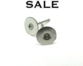 Rhodium Plated Earring Post Findings (10 Pairs) (F616) SALE - 25% off