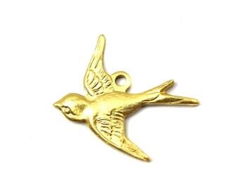 Brass Sparrow Bird Charms - LEFT Facing - (4X) (M823)