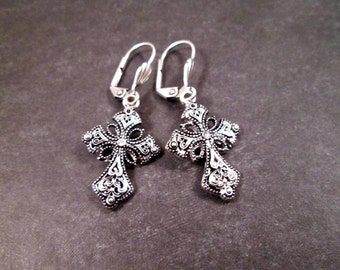 Victorian Cross Earrings, Oxidized Silver and White Glass Rhinestones, Dangle Earrings, FREE Shipping U.S.
