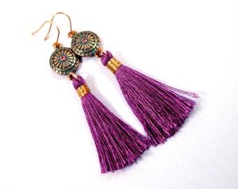 Tassel Earrings, Purple Rayon, Pink Glass Rhinestone and Teal Pendants, Gold Dangle Earrings, FREE Shipping U.S.