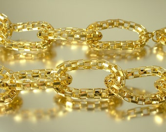 Vintage/ estate 1990s chunky fancy long length gold plated chain costume necklace - jewelry jewellery - bargain sale
