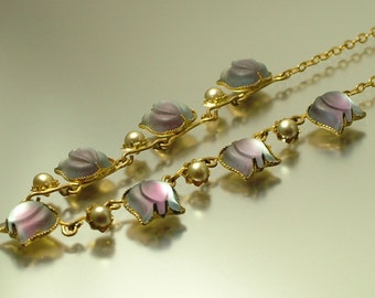 Vintage/ estate 1950s Austrian glass flower, mauve purple and costume pearl necklace - jewelry jewellery