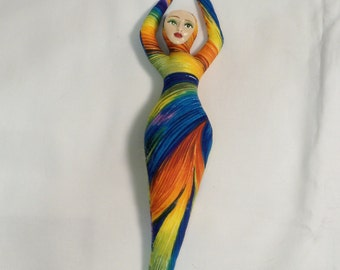 9 in. Goddess of FIRE cloth art doll form w/face cab You finish her Bead Decorate