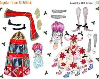 on sale Paper Digital sheet Printable Mrs and Mr Santa paper doll-scrapbooking-Download and print-300 DPI