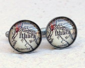 Ithaca Map Cufflinks Cuff Link Set - Choose Your Map - Great for groomsmen Gift - Custom Map Cufflinks and Accessories - New York Cufflink