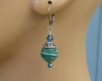 Teal & White Swirl Earrings, Swarovski Indicolite Crystals, Frosted Matte Lampwork Glass, Antique Silver Leverbacks