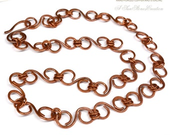 Hand Forged Copper Chain - Necklace, DIY Jewelry Making, JC409