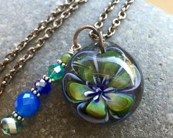 Glass Flower Pendant Boro Lily Lampwork Emma's Emerald