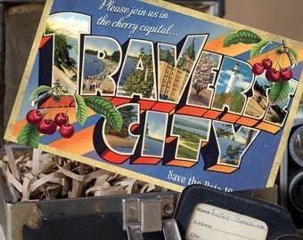 Vintage Large Letter Postcard Save the Date (Traverse City, Michigan) - Design Fee