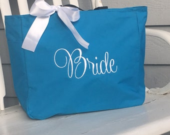 Monogrammed Tote Bag BRIDE Bridal Party Wedding Embroidered White Aqua Embroidered Bride bag bride tote