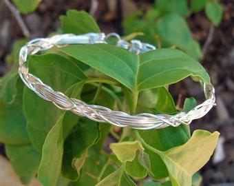 Bracelet -- Sterling Silver Wire-Wrapped Bracelet Wide Flowing Grapevine Design
