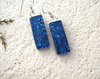 Cobalt Blue Earrings, Dichroic Earrings, Glass Earrings, Glass Jewelry, Dichroic Jewelry, Dangle Drop Earrings,Sterling Silver, 042716e102
