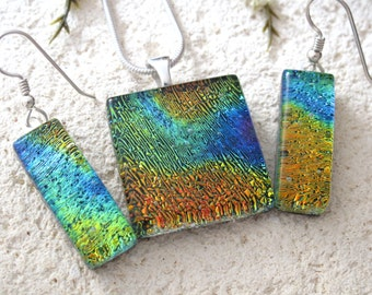 Petite  Necklace &  Earrings Set ,Gold Blue Green ,Dichroic Jewelry, Silver Necklace Earrings, Fused Glass Jewelry, Pendant, 082816ps102