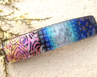 Large Barrette, Blue Pink Barrette, Fused Glass Jewelry, Dichroic Jewelry, Hair Barrette, French Barrette, Fused Barrette,  030416ba104