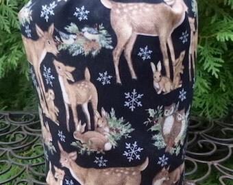 Winter animals Drawstring bag, WIP bag, knitting project bag, Suebee