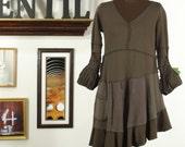 mudlovingest brown sculpted upcycled dress